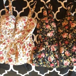Lot of 2 floral zip up tops